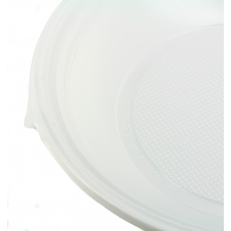 Prato Plastico Fundo PS Branco 220 mm (100 Unidades)