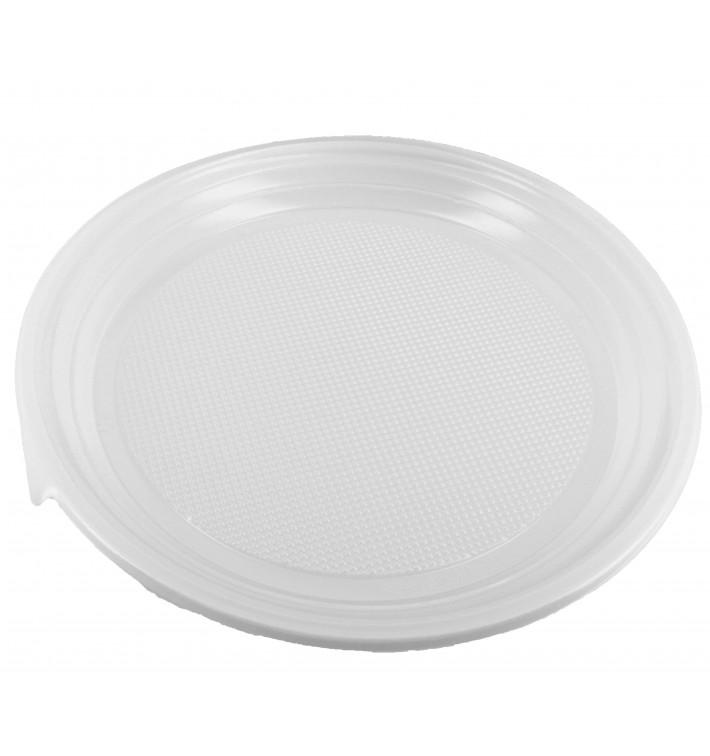 Prato Plástico Raso PS Branco 220 mm (100 Unidades)
