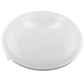 Prato Plástico Fundo PS Branco 220 mm (1.400 Unidades)
