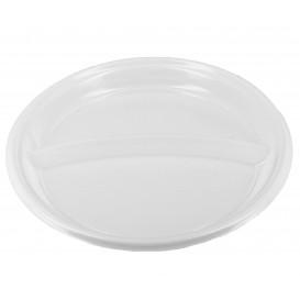 Prato Plástico 2 Compar. PS Branco 220 mm (360 Uds)