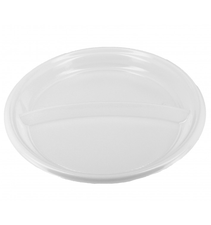 Prato Plástico 2 Compar. PS Branco 220 mm (6 Uds)