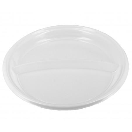 Prato Plastico 2 Compar. PS Branco 220 mm (6 Uds)