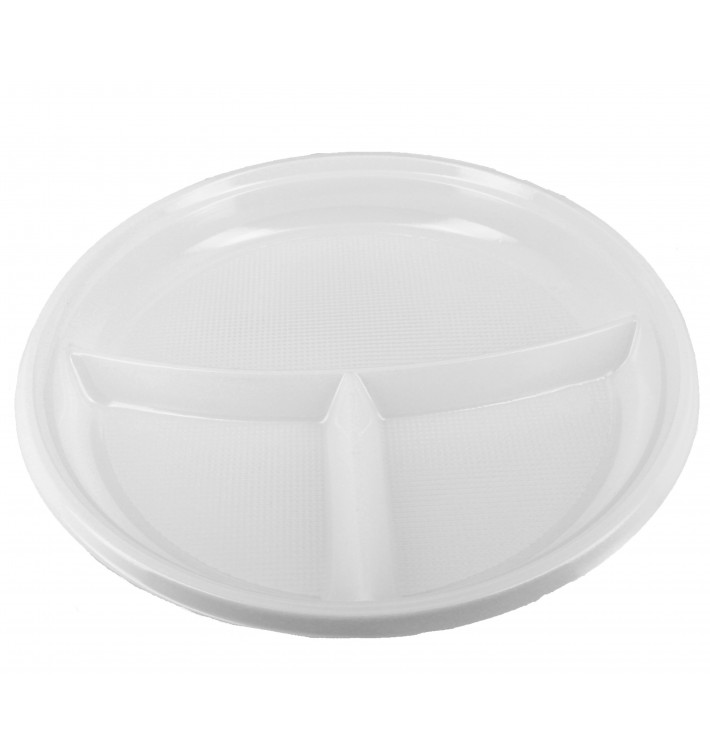 Prato Plastico 3 Compar. PS Branco 220 mm (6 Unidades)