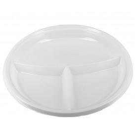 Prato Plastico 3 Compar. PS Branco 220 mm (360 Unidades)