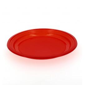 Prato Plastico Raso PS Vermelho 205mm (10 Unidades)