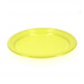 Prato Plastico Raso Ps Amarelo 205mm (10 Unidades)