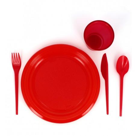 Colher de Plastico Vermelho PS 165 mm (900 Uds)