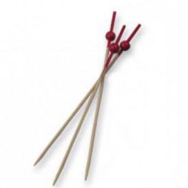 Pick Bambu Decorado Bola Vermelho 90mm (100 Unidades)