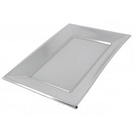 Bandeja Plástico Rectangular Prata 330x230mm (120 Uds)
