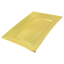Bandeja Plástico Rectangular Ouro 330x225 mm (60 Uds)