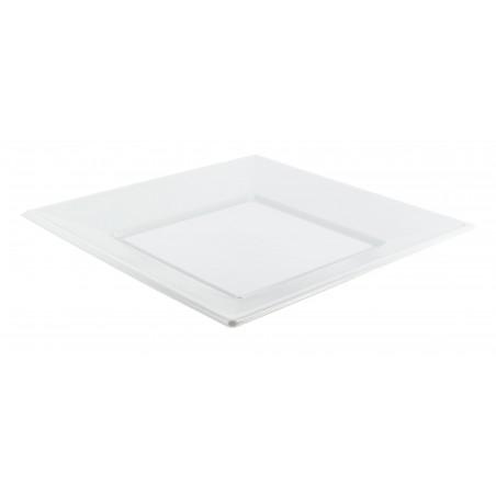 Prato Plastico Raso Quadrado Branco 230mm (25 Uds)