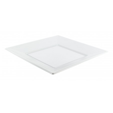 Prato Plastico Raso Quadrado Branco 170mm (25 Uds)