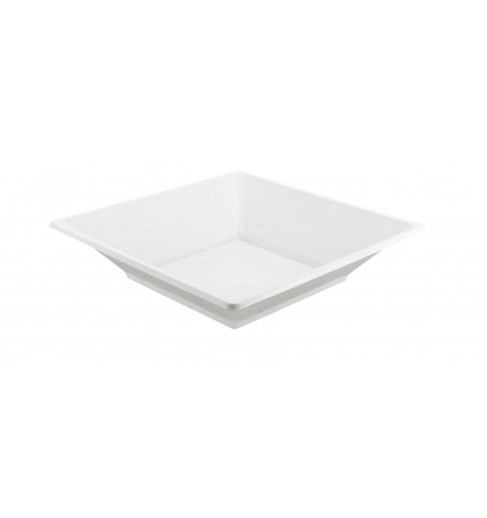 Prato Plástico Fundo Quadrado Branco 170mm (25 Uds)