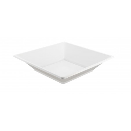 Prato Plastico Fundo Quadrado Branco 170mm (25 Uds)