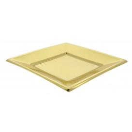 Prato Raso Quadrado de Plastico Ouro 230mm (25 Uds)