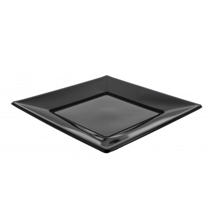 Prato Plástico Raso Quadrado Preto 170mm (6 Uds)