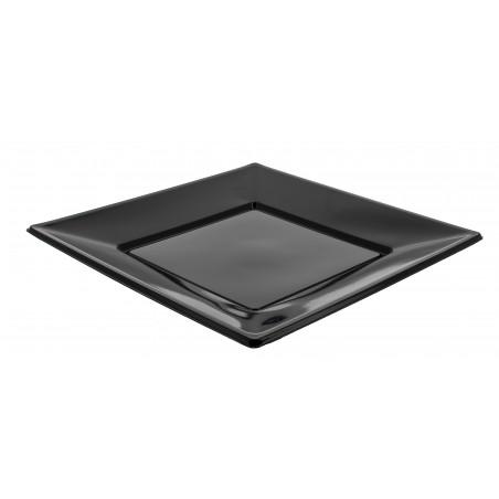 Prato Plastico Raso Quadrado Preto 230mm (25 Uds)