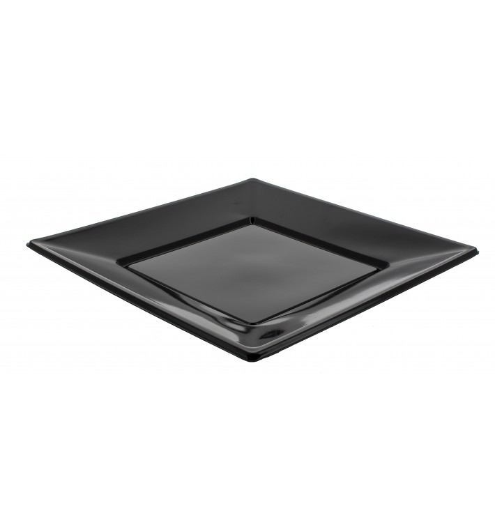 Prato Plastico Raso Quadrado Preto 230mm (5 Uds)