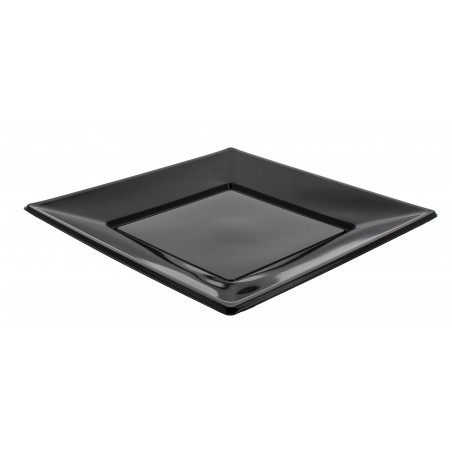 Prato Plastico Raso Quadrado Preto 170mm (25 Uds)