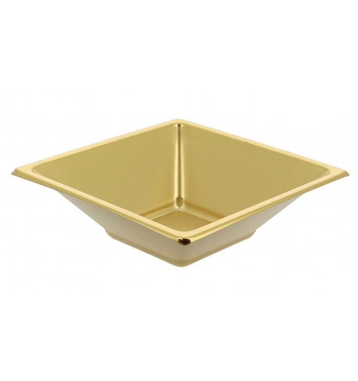 Tigela de Plastico PS Quadrada Ouro 12x12cm (5 Uds)