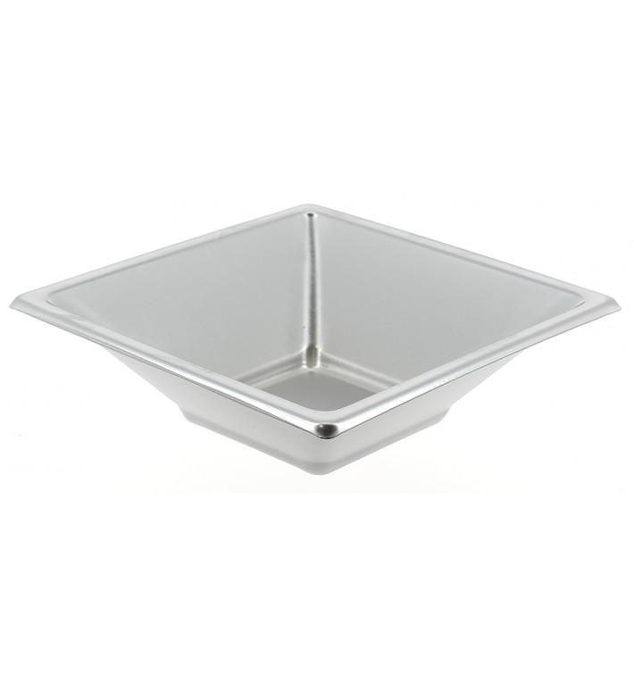 Tigela de Plastico PS Quadrada Prata 12x12cm (5 Uds)