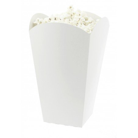 Caixa Pipocas Mediana Branca 90gr 7,8x10,5x18cm (25 Uds)