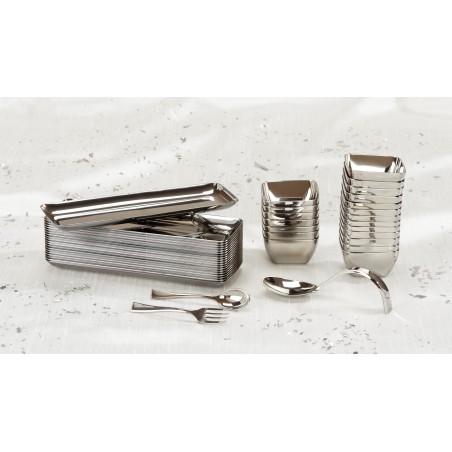 Colher de Plastico Metalizado 13 cm (100 Unidades)