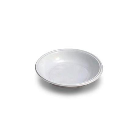 Plato Hondo de Plastico PS Blanco 205 mm  (Paquete 100 unidades)