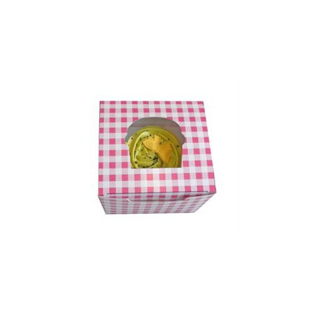 Caja con Soporte para 1 Cupcakes Rosa (Bolsas De 20 Unidades)