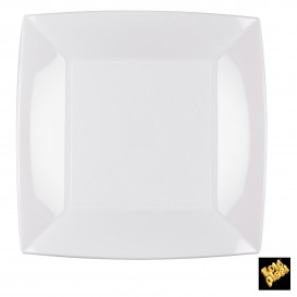Prato Plastico Raso Quadrado Prata 230mm (150 Uds)
