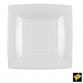 Prato Plastico Raso Branco Nice PP 180mm (25 Uds)
