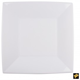 Prato Plastico Raso Quadrado Prata 290mm (72 Uds)