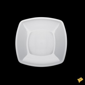 Prato Plastico Liso Branco 230mm (150 Uds)