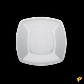 Prato Plastico Raso Quadrado Branco Square PP 180mm (25 Uds)