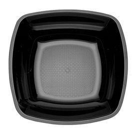 Prato Plastico Fundo Preto Square PS 180mm (25 Uds)