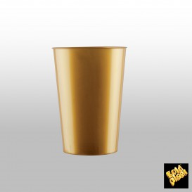 Copo Plastico Cristal Moon Ouro PS 230ml (35 Uds)