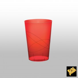 Copo Plastico Moon Cristal Vermelho Transp. PS 230ml (50 Uds)