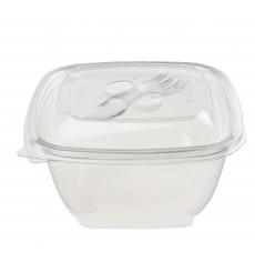 Tigela de Plastico Quadrado Saladeira PET 375ml (50 Uds)