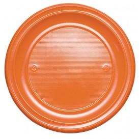 Prato Plastico PS Raso Laranja Ø220 mm (30 Unidades)