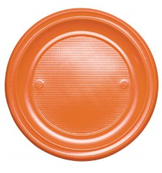 Prato Plastico Raso PS Laranja PS 220 mm (30 Unidades)
