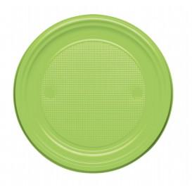 Prato Plastico Raso Verde Limão PS 170mm (50 Unidades)