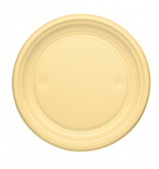 Prato Plastico Raso Creme PS 170mm (50 Unidades)