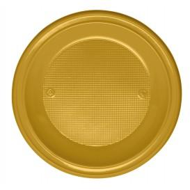 Prato Plastico PS Raso Ouro Ø220 mm (30 Unidades)