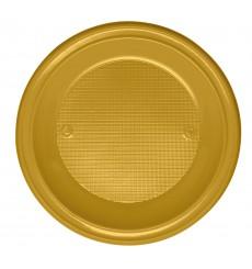 Prato Plastico Fundo Ouro PS 220 mm (30 Unidades)