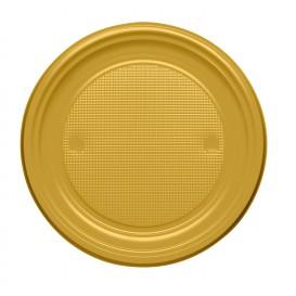 Prato Plastico PS Raso Ouro Ø170mm (50 Unidades)