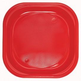 Prato Plastico PS Quadrado Raso Vermelho 200x200mm (50 Unidades)