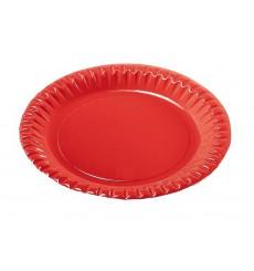 Prato de Cartão Vermelho Redondo 180mm (10 Unidades)
