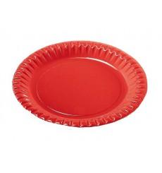 Prato de Cartão Vermelho Redondo 290mm (6 Unidades)