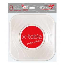 "Prato Plastico PP ""X-Table"" Quadrado Raso Pérola 230mm (8 Unidades)"