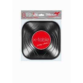 "Tigela Plastico PP ""X-Table"" Quadrada Preto 180x180mm (8 Uds)"